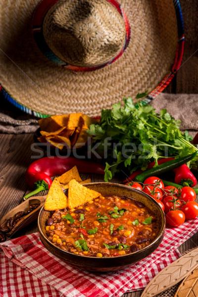 Chili фон сыра мяса овощей перец Сток-фото © Dar1930