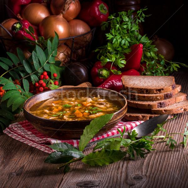Sığır eti çorba gıda restoran tablo ekmek Stok fotoğraf © Dar1930
