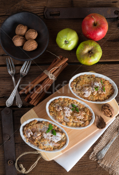 Stock photo:  Apple Walnut streusel cake
