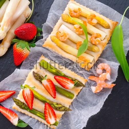Stock fotó: Spárga · asztal · zöld · kenyér · fehér · pite
