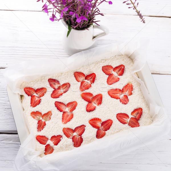 coconut strawberry cheesecake Stock photo © Dar1930