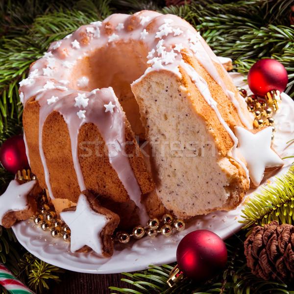 Natal madeira bolo comida prato branco Foto stock © Dar1930