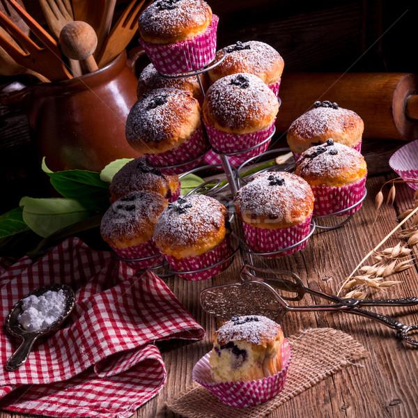 Stock fotó: áfonya · muffinok · háttér · asztal · kék · kenyér