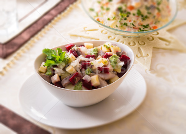 Herring salad with beetroot - selective sharpness-deep Stock photo © Dar1930