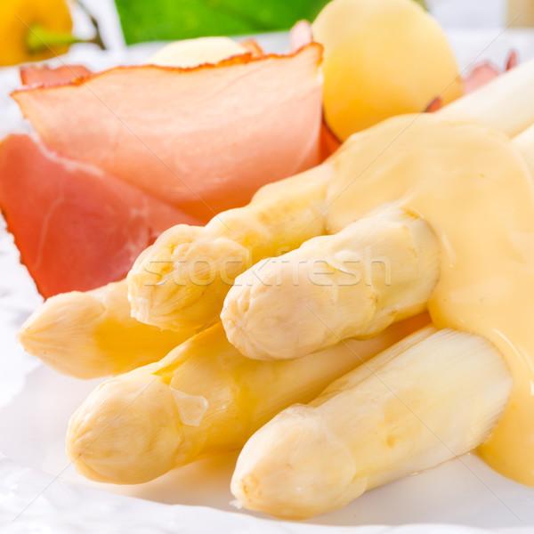 Szparagów sos restauracji biały obiad warzyw Zdjęcia stock © Dar1930