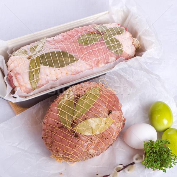 Porc préparation alimentaire dîner fourche Photo stock © Dar1930