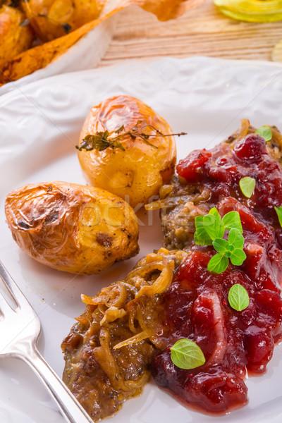 roasted liver with bake potato Stock photo © Dar1930