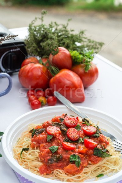 Stockfoto: Kamp · pasta · keuken · koken · kok · lunch