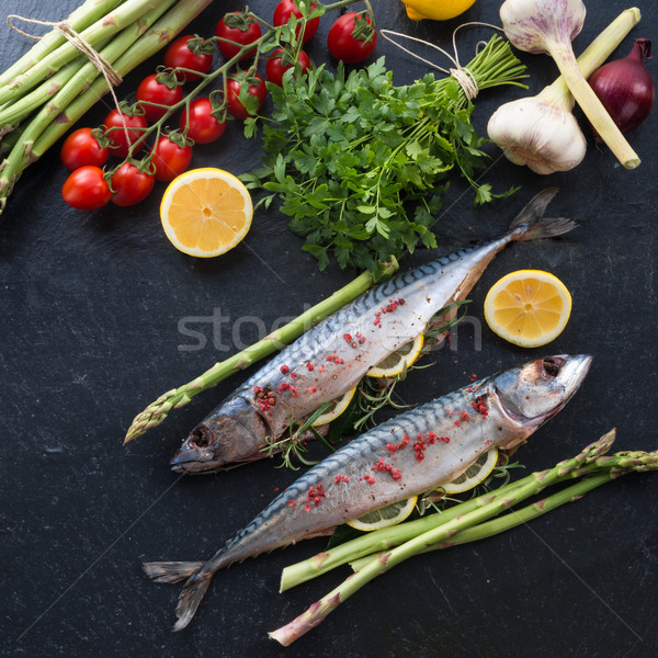 зеленый спаржа рыбы кухне Салат Кука Сток-фото © Dar1930