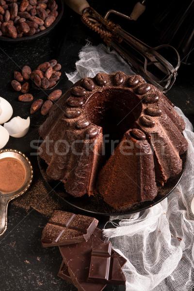 Csokoládés sütemény buli csokoládé étterem fekete sötét Stock fotó © Dar1930