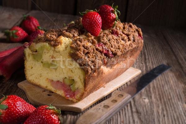 Ravent kek gıda ahşap yaz kırmızı Stok fotoğraf © Dar1930