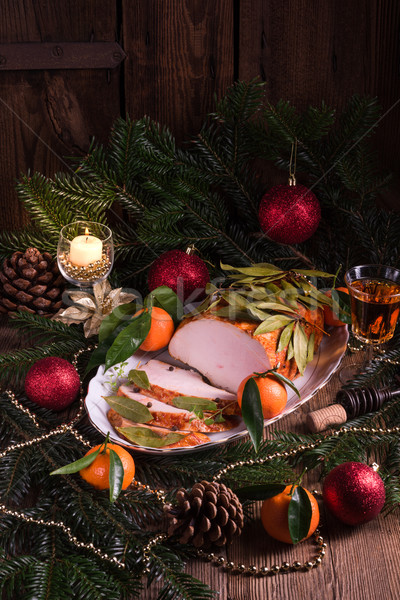 aromatic turkey roast in piquant marinade and Bay laurel Stock photo © Dar1930