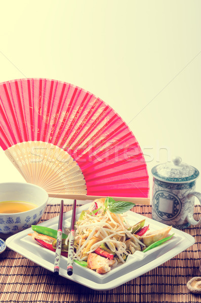 Stock photo: Fried duck breast Thai -  vintage style