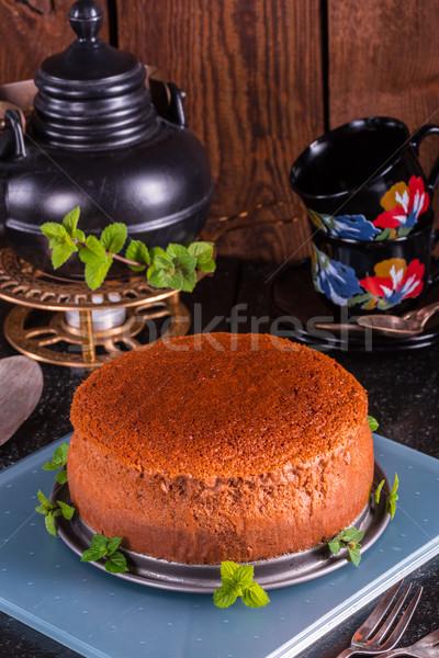 Japon cheesecake meyve kek peynir kırmızı Stok fotoğraf © Dar1930