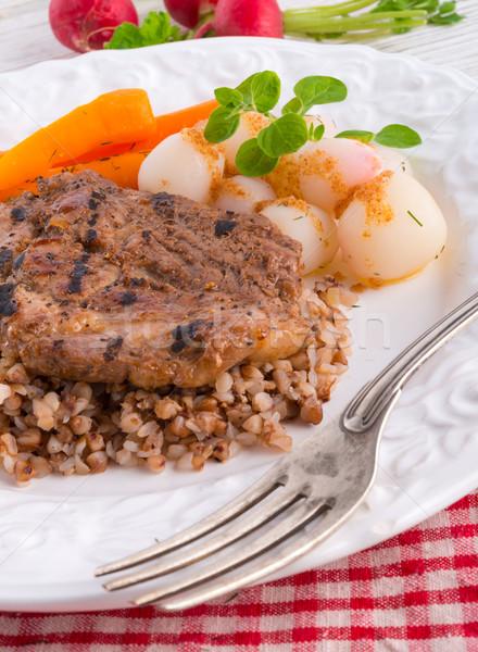 grill chop, buckwheat groats and roasted radishes Stock photo © Dar1930