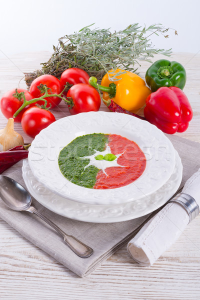 Stock photo: tomato-spinach cream soup