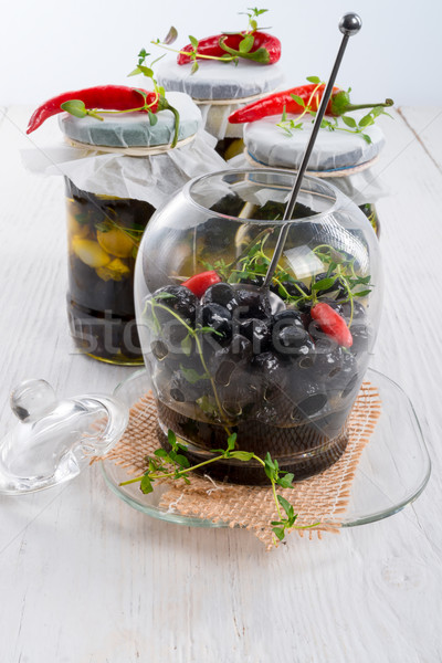 Stock photo: spicy marinated olives