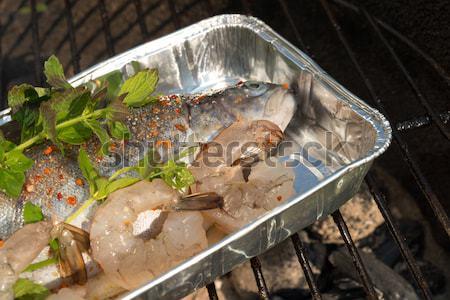 Grelhado truta comida fogo madeira natureza Foto stock © Dar1930