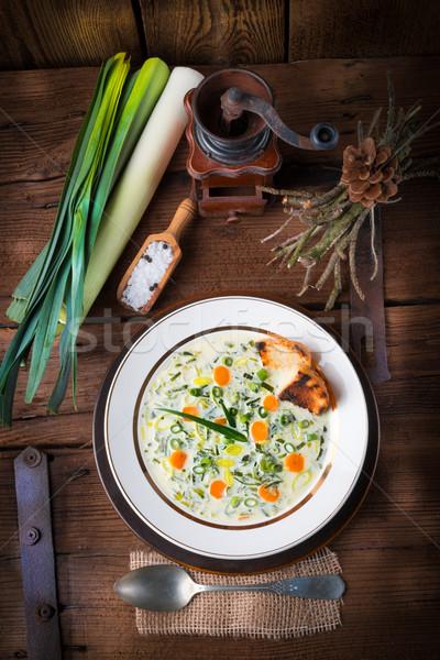 Pırasa peynir çorba gıda akşam yemeği sıcak Stok fotoğraf © Dar1930