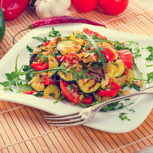Foto stock: Legumes · vegetariano · arroz · fundo · laranja