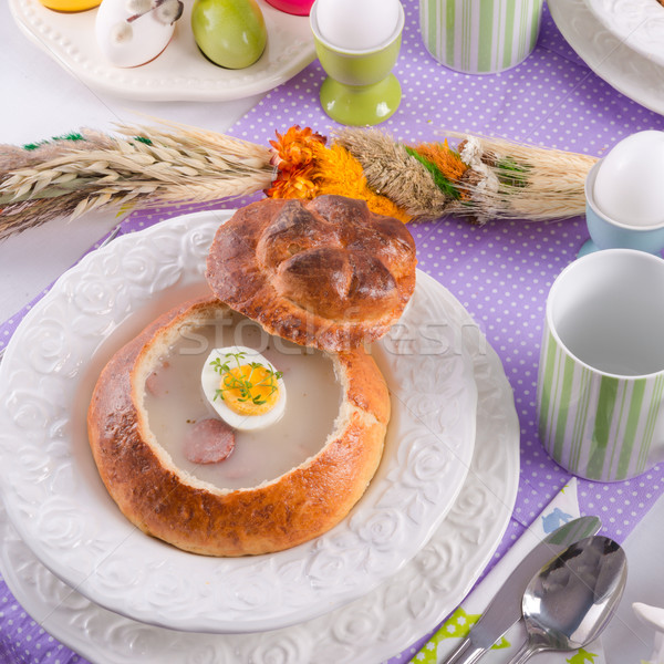 Aigre seigle soupe oeuf pain dîner Photo stock © Dar1930