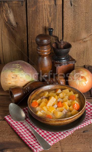 Savanyú káposzta vacsora tányér hús eszik főzés Stock fotó © Dar1930