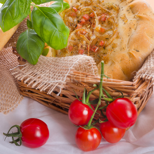 Onion tart and Federweisser(Nouveau) Stock photo © Dar1930