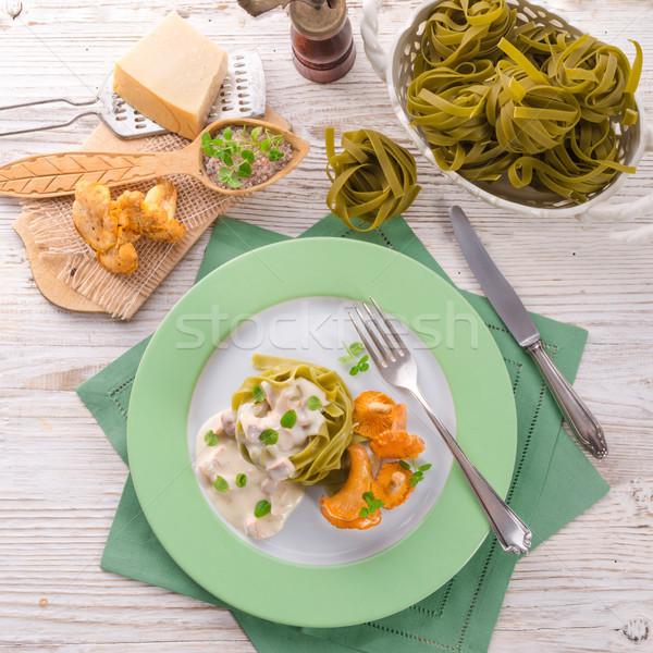 タリアテーレ 食品 葉 背景 緑 チーズ ストックフォト © Dar1930