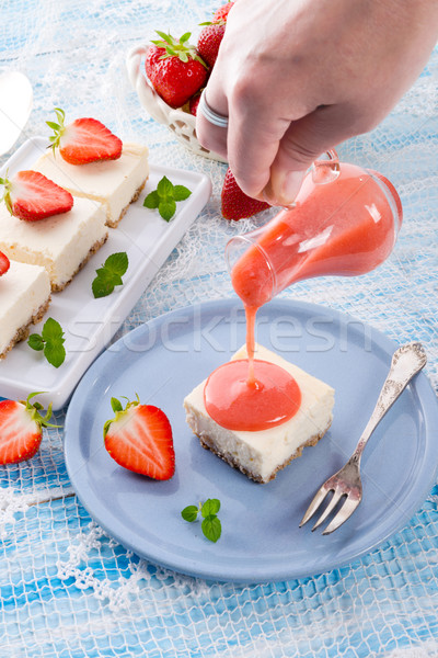 Cheese cake with strawberry sauce Stock photo © Dar1930