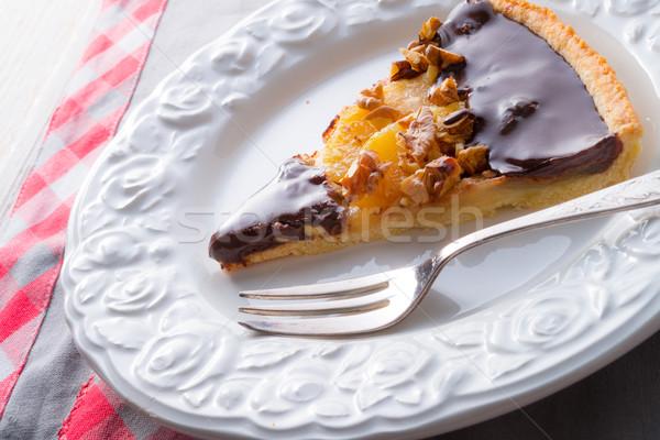 Peras chocolate bolo café da manhã branco Foto stock © Dar1930