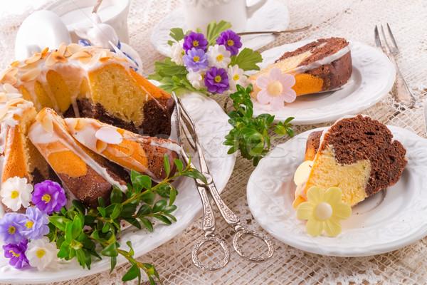 Páscoa primavera comida feliz chocolate ovo Foto stock © Dar1930