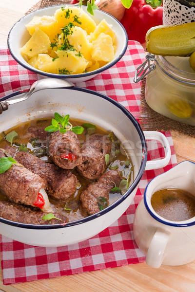 Rindfleisch Essen Kuh Restaurant Abendessen Fleisch Stock foto © Dar1930