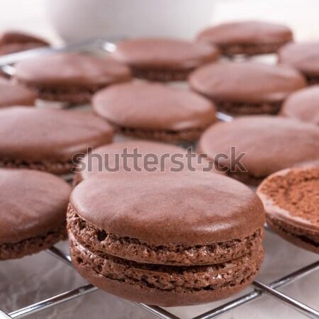 Chocolade macarons kardemom voedsel bar suiker Stockfoto © Dar1930