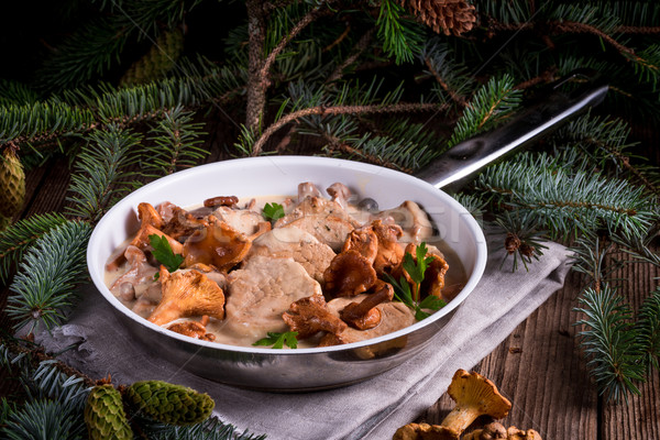 Pork tenderloin with Chanterelle sauce Stock photo © Dar1930