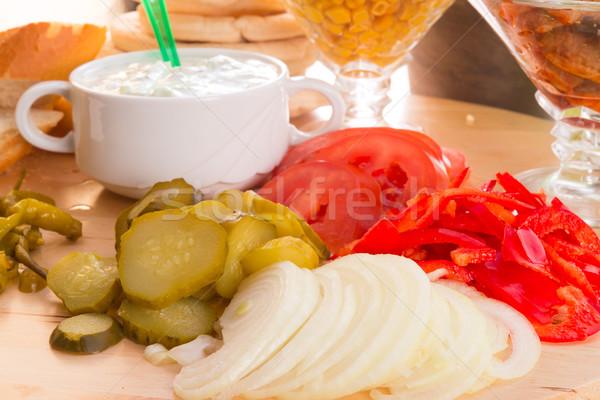 Pita składniki strony chleba obiedzie Sałatka Zdjęcia stock © Dar1930