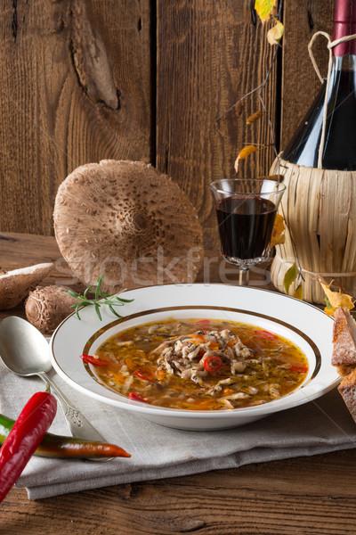 Güneş şemsiyesi mantar çorba gıda akşam yemeği pişirmek Stok fotoğraf © Dar1930