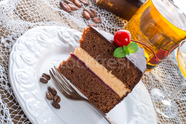 Bolo de chocolate aniversário fruto escuro branco cereja Foto stock © Dar1930