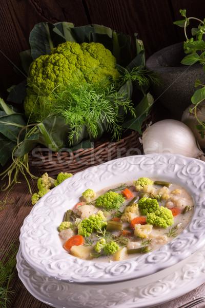 Zielone kalafior zupa jarzynowa żywności charakter restauracji Zdjęcia stock © Dar1930