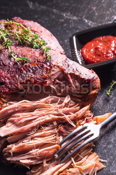Domuz eti tablo akşam yemeği salata sıcak öğle yemeği Stok fotoğraf © Dar1930