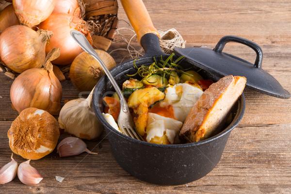 Gyógynövény krumpli tükörtojás étel egészség tojás Stock fotó © Dar1930
