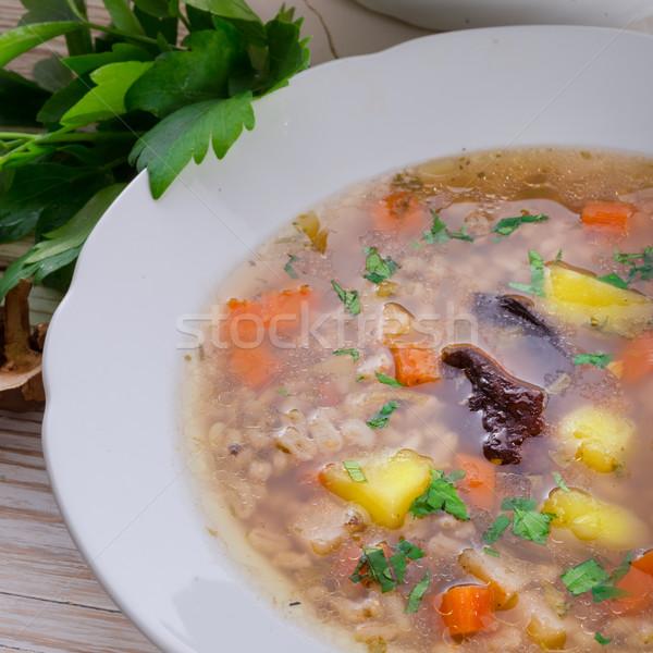Parel gerst soep groene vlees hot Stockfoto © Dar1930