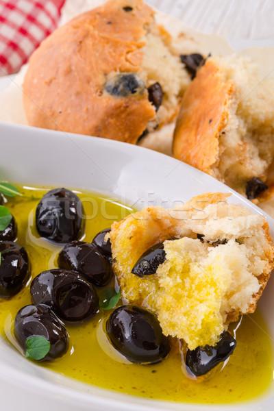 Antipasti olijven hout groene brood zwarte Stockfoto © Dar1930
