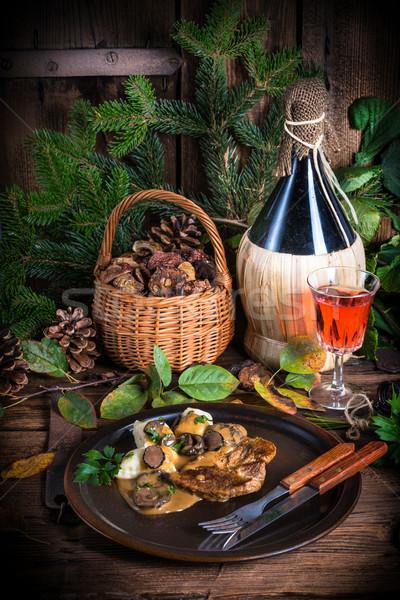 Steak with potato dumplings and forest mushroom sauce Stock photo © Dar1930