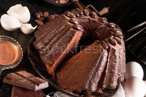Gâteau au chocolat fête chocolat restaurant noir sombre Photo stock © Dar1930