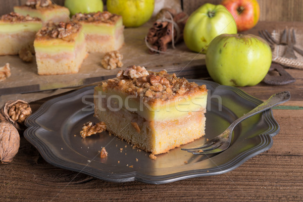 apple strudel with vanilla pudding and nuts Stock photo © Dar1930