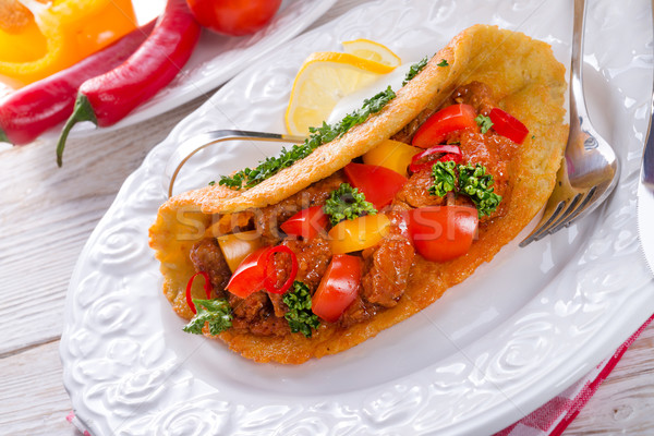 Húngaro batata panqueca jantar interior cozinhar Foto stock © Dar1930