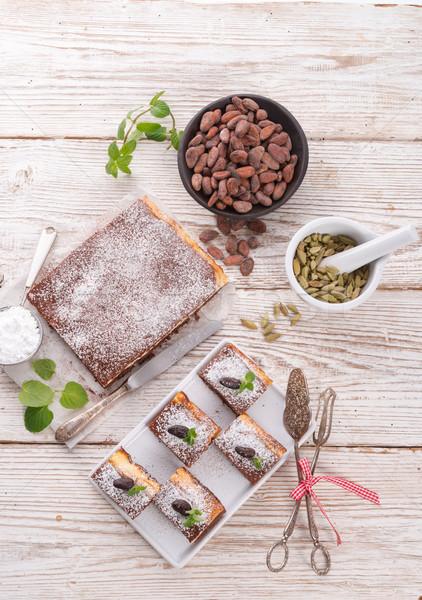 Chocolate bolo de queijo comida casa bolo queijo Foto stock © Dar1930