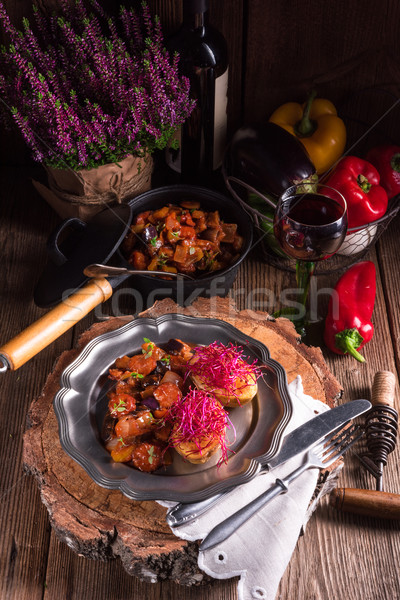 ratatouille with baked potato and beetroot sprouts Stock photo © Dar1930