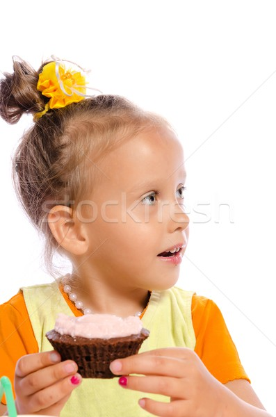 small girls and muffin Stock photo © Dar1930