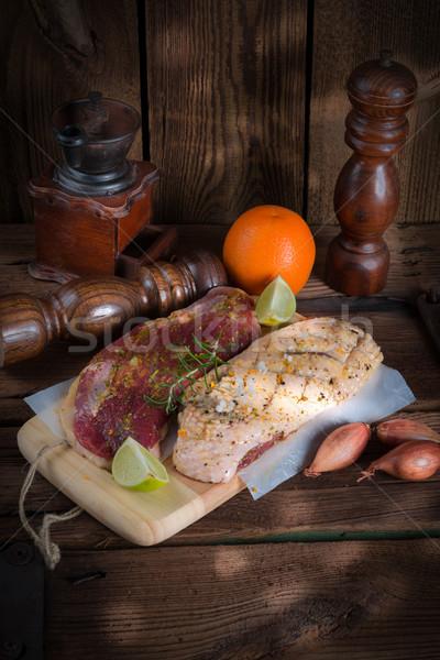 Marinato anatra seno cucina ristorante uccello Foto d'archivio © Dar1930